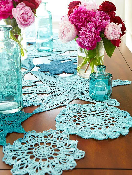 Hand-stitch vintage cotton doilies together to create a free-form table runner: http://www.bhg.com/decorating/decorating-style/flea-market/flea-market-makeovers/?socsrc=bhgpin060214doilyrunner&page=13