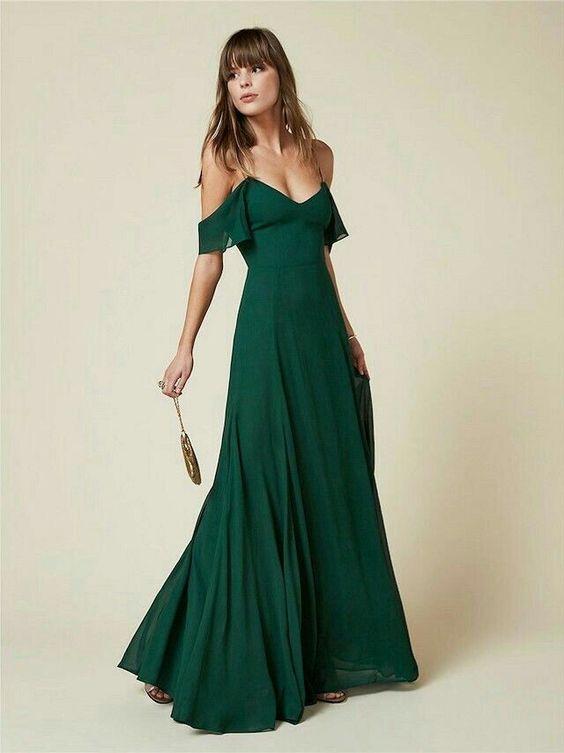 Vestido para casamento civil verde esmeralda