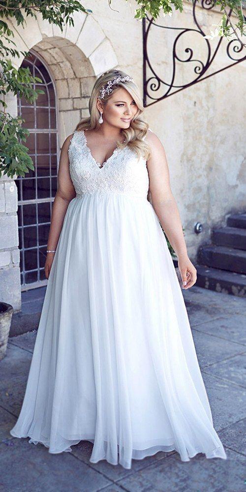 Vestido de casamento com decote V