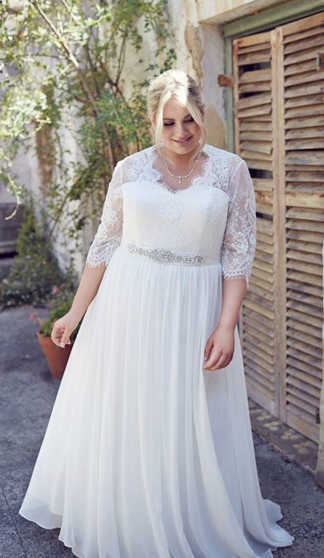 Vestido de casamento plus size com mangas