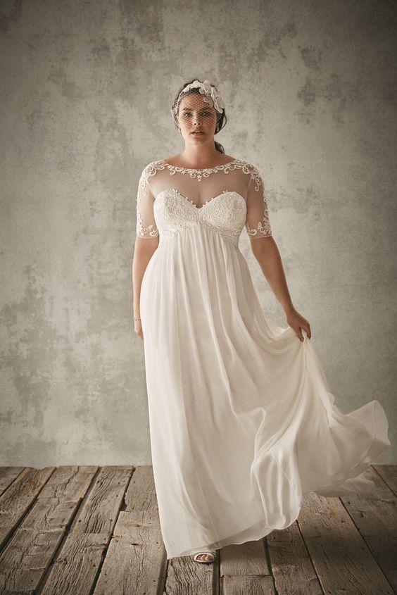 Vestido de noiva para gordinhas com colo transparente