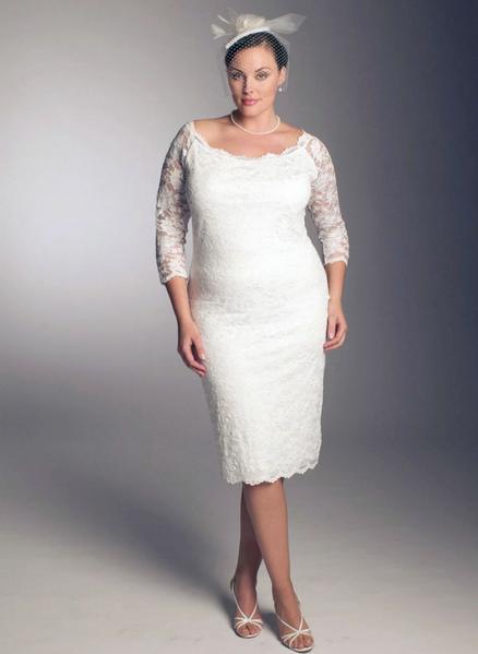 Decote redondo para vestido de casamento plus size