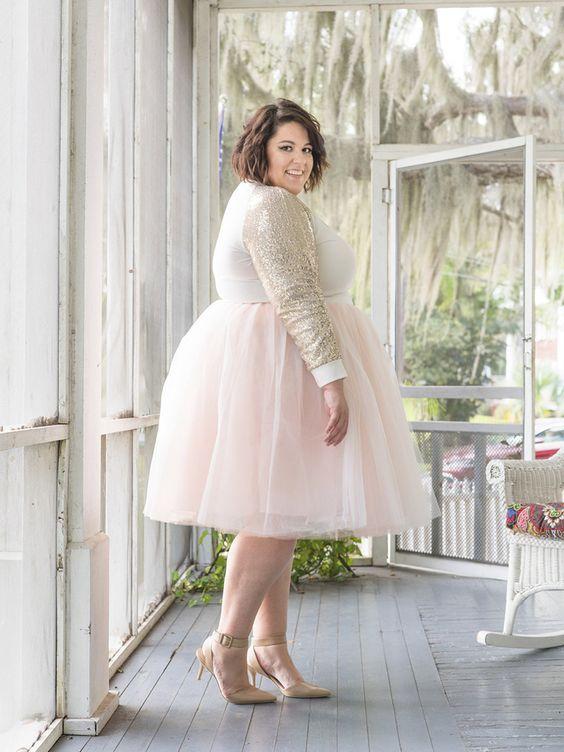 vestido de noiva gordinha com saia de tule curta