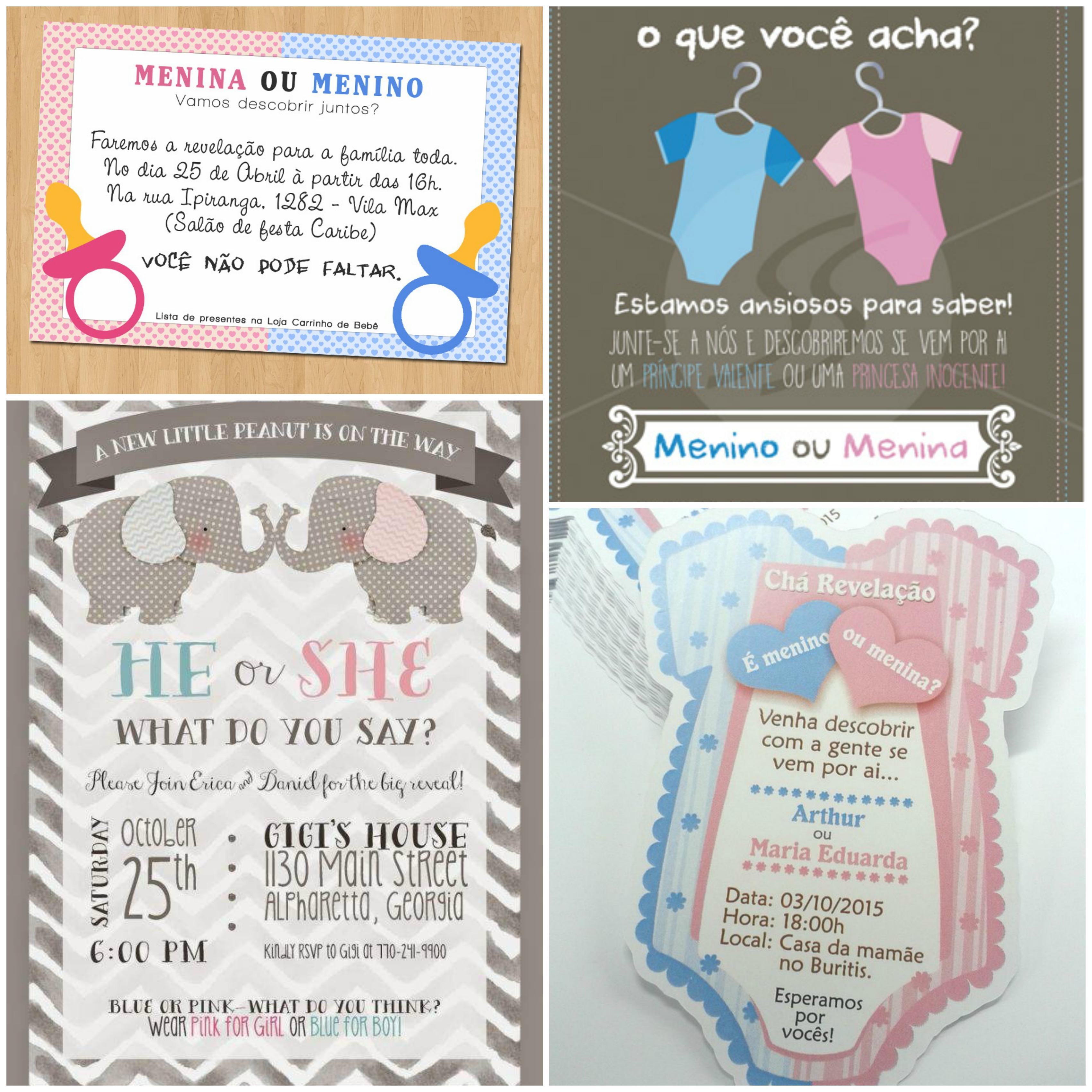 Ideias de convites para o chá de bebê revelação
