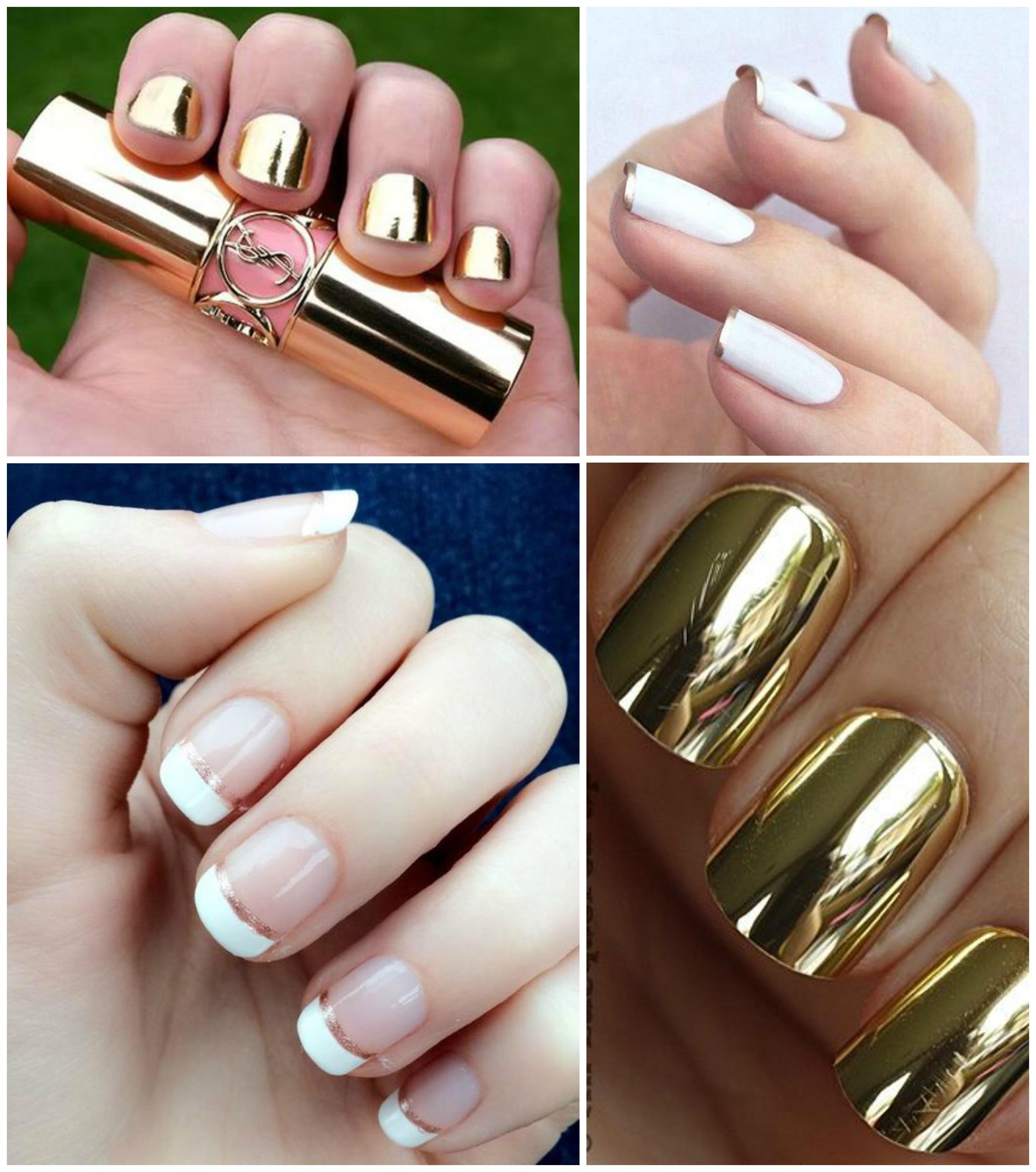 Ideias de unhas douradas para noivas