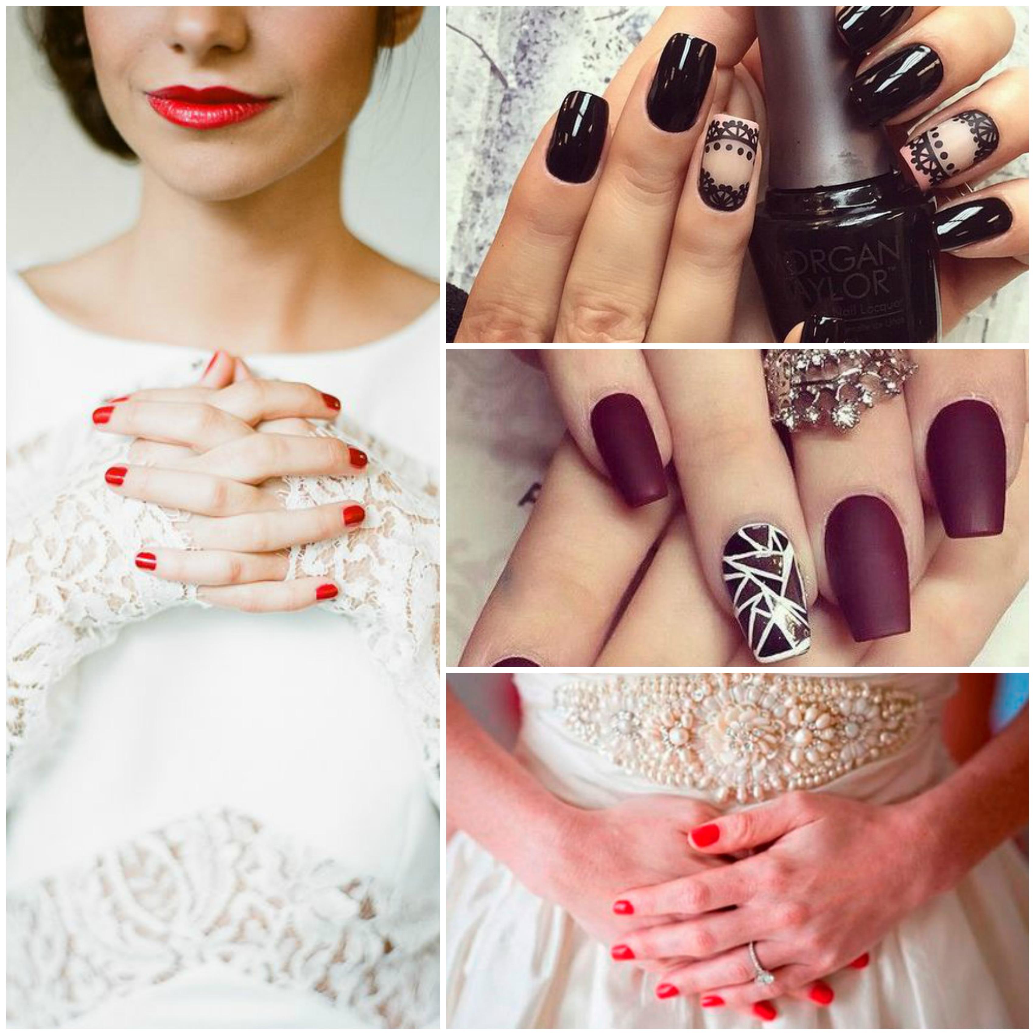 Cores fortes de unhas para as noivas