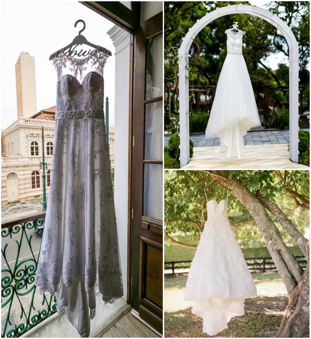 Foto do vestido de noiva pendurado