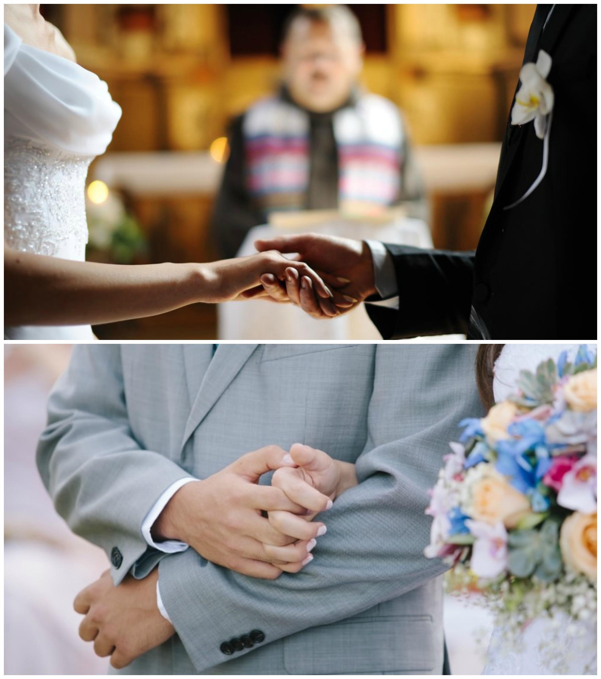 Noivos de mãos dadas no altar