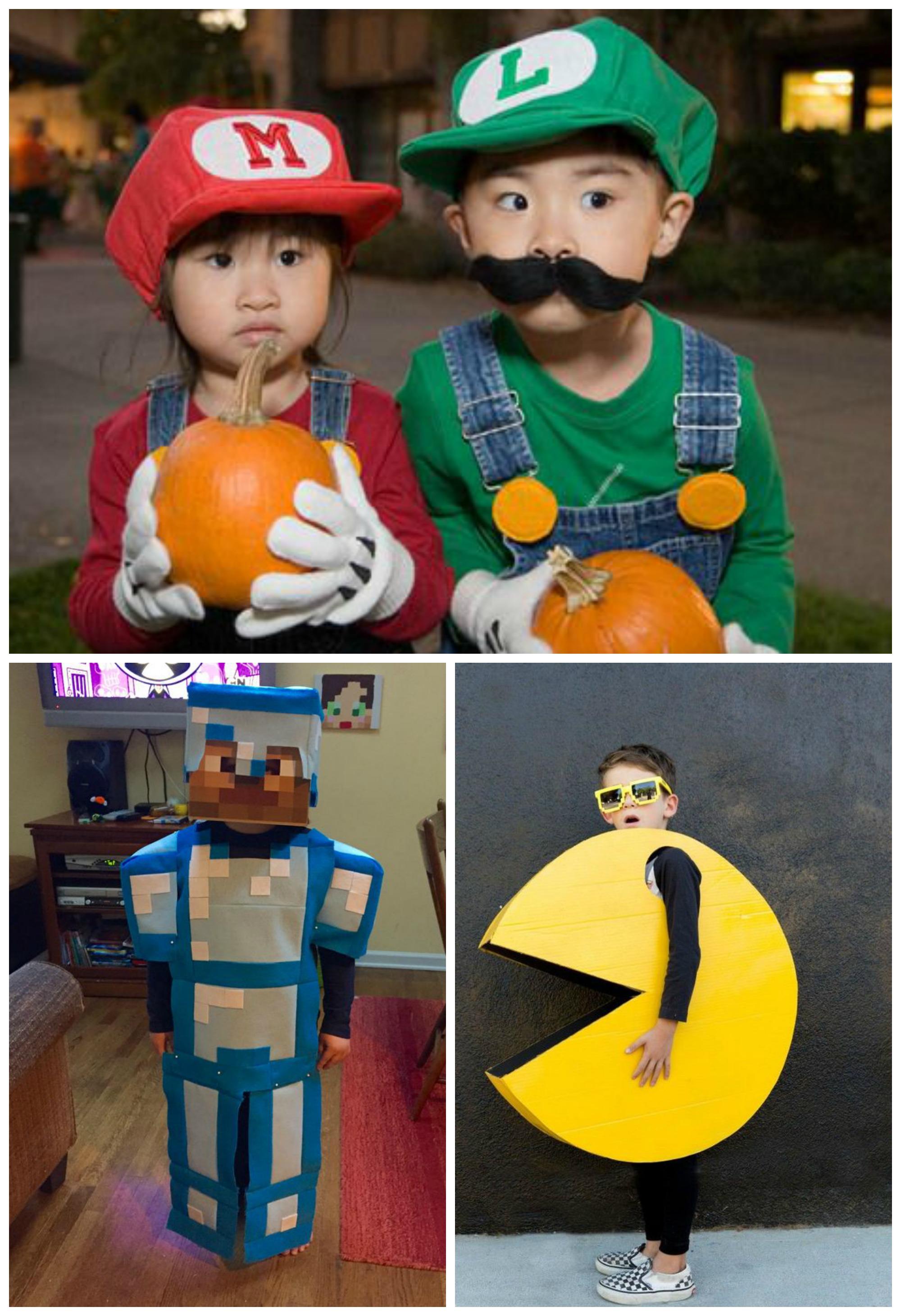 Personagens de videogame em fantasias de carnaval infantil