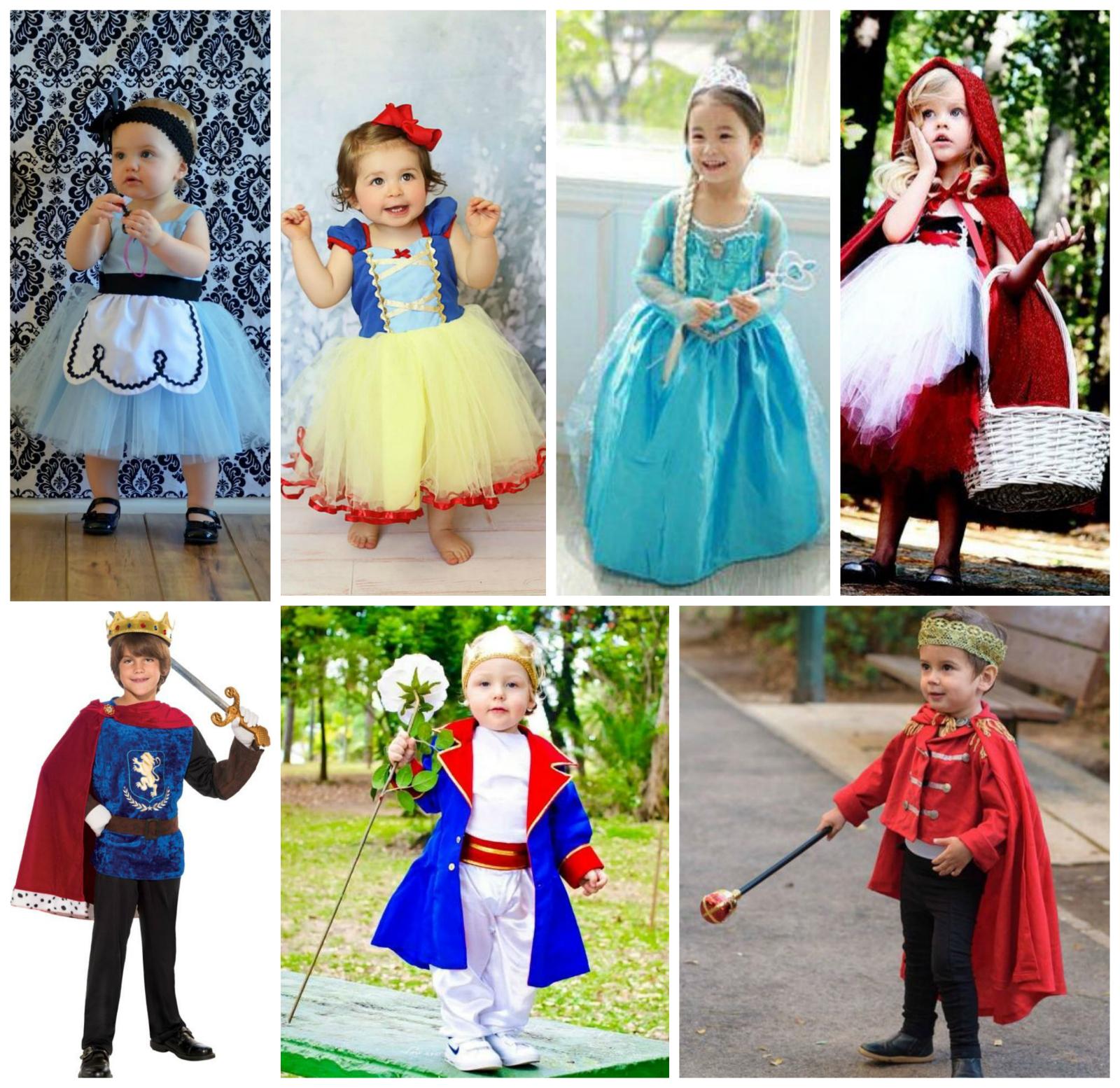 Fantasias de carnaval infantil de príncipes e princesas