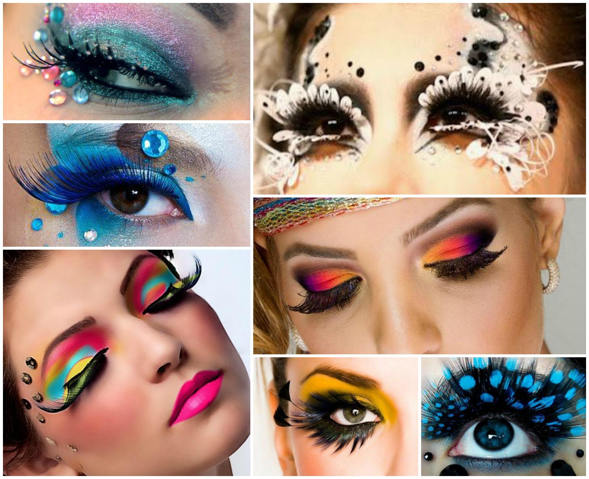 Dicas de maquiagem de Carnaval com cílios coloridos