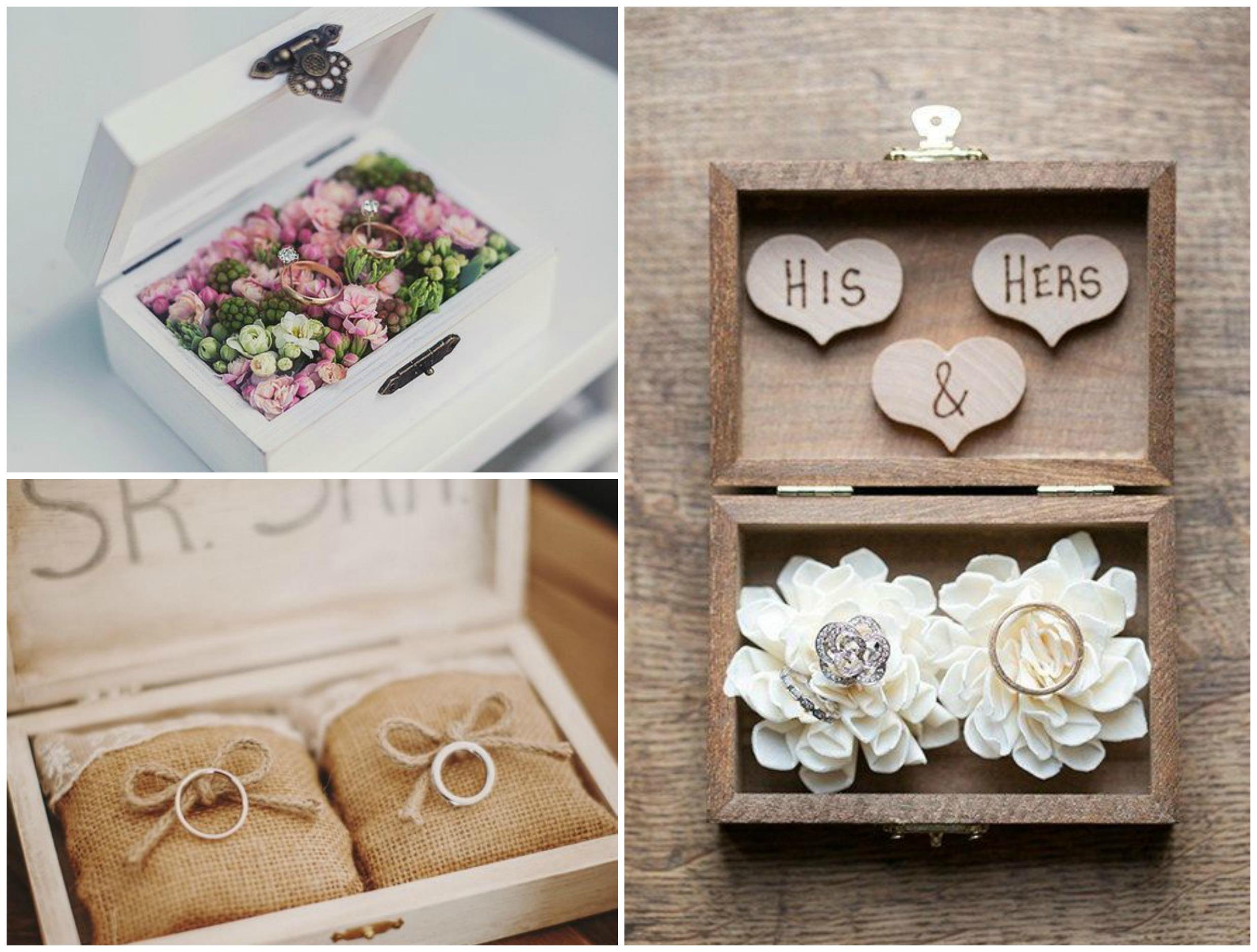 Caixas de madeira como porta alianças para casamento