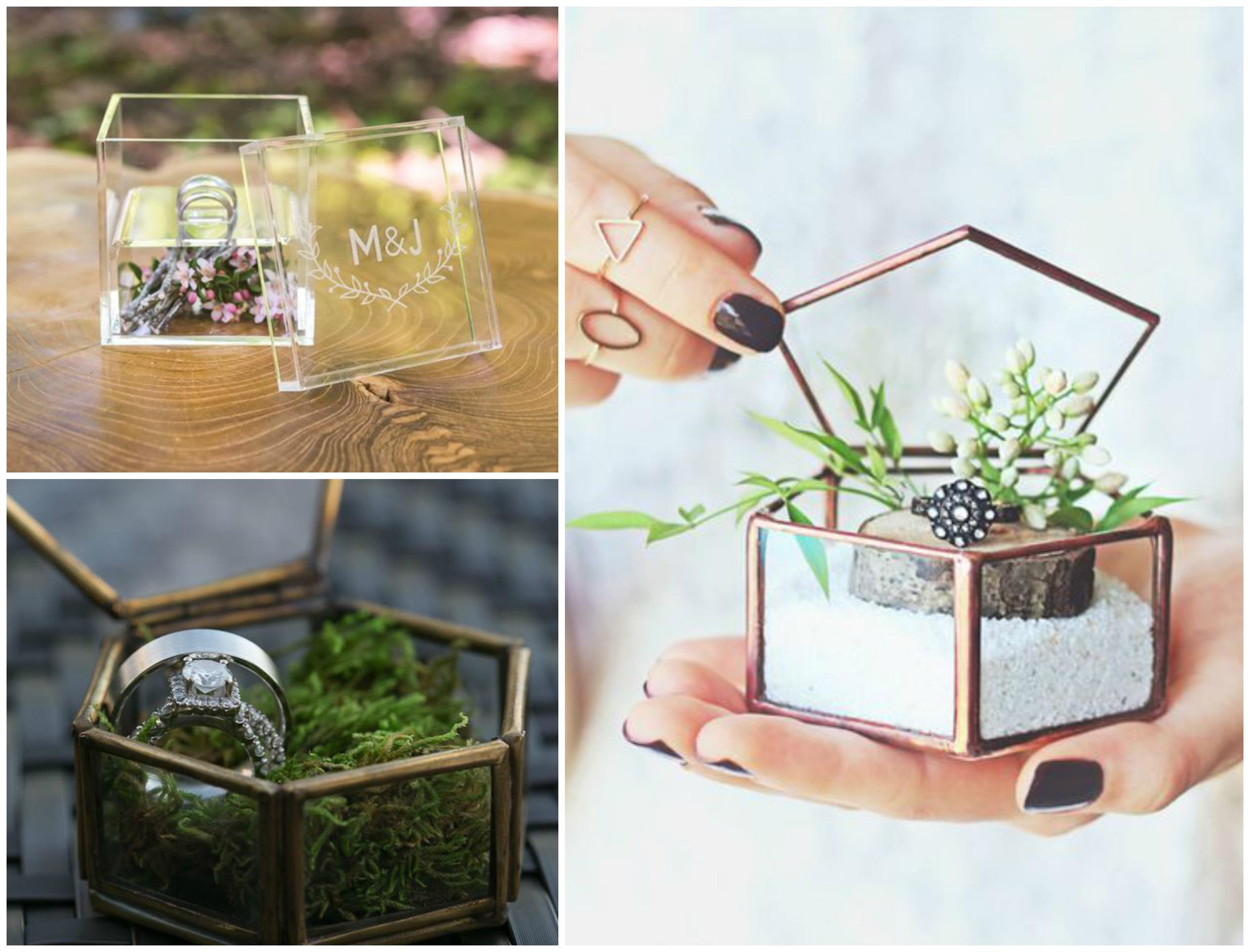 Caixinhas de vidro como porta alianças para casamento