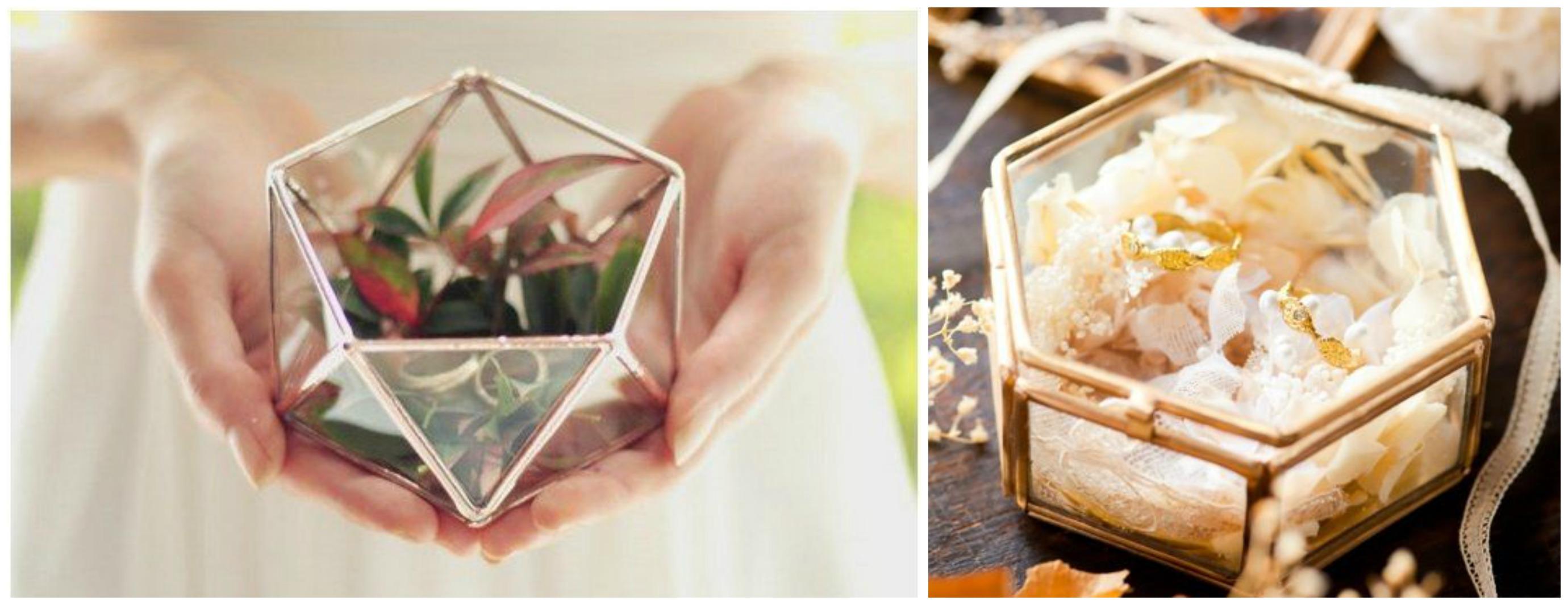 Opções de caixa de vidro para porta alianças para casamento