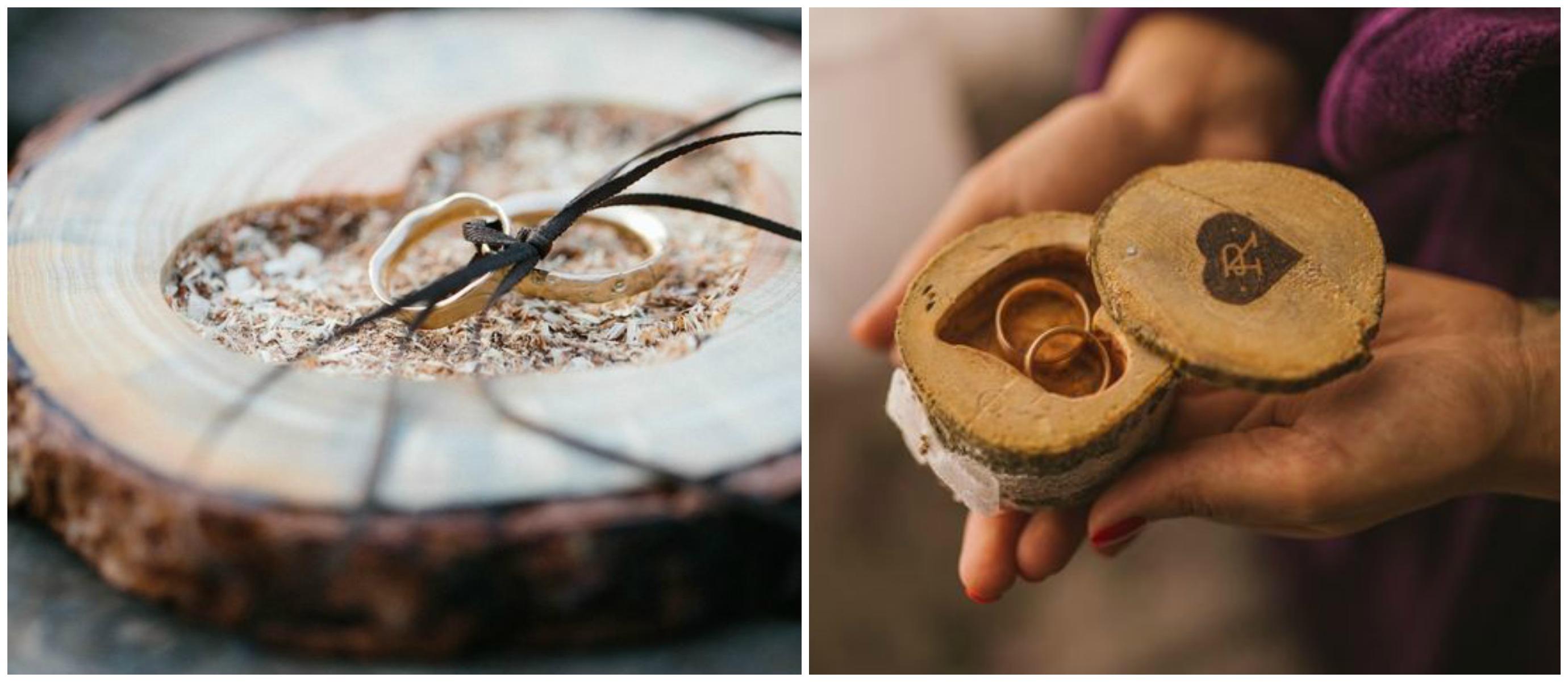 Tora de madeira em porta alianças para casamento