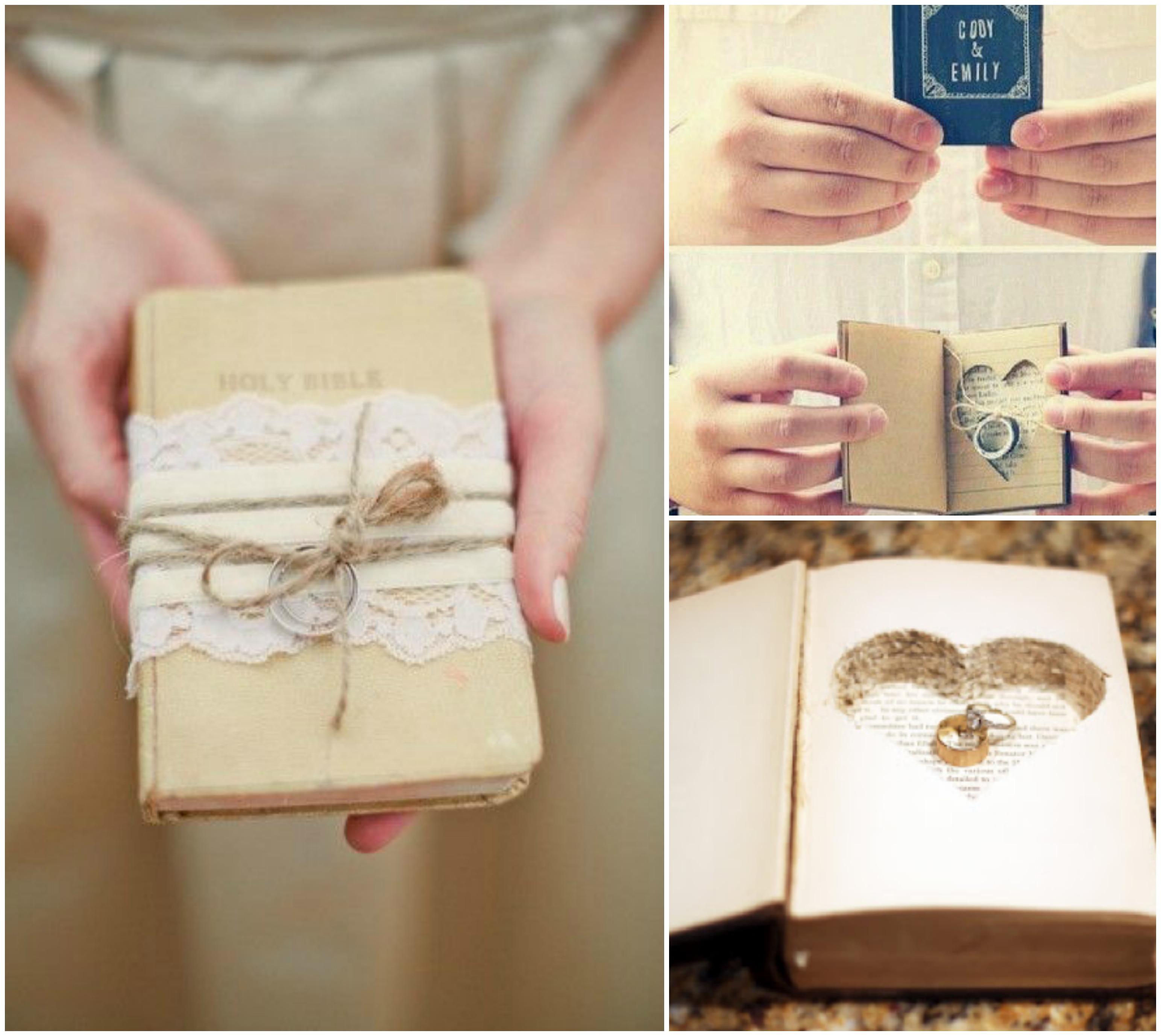 Porta alianças para casamento em livro