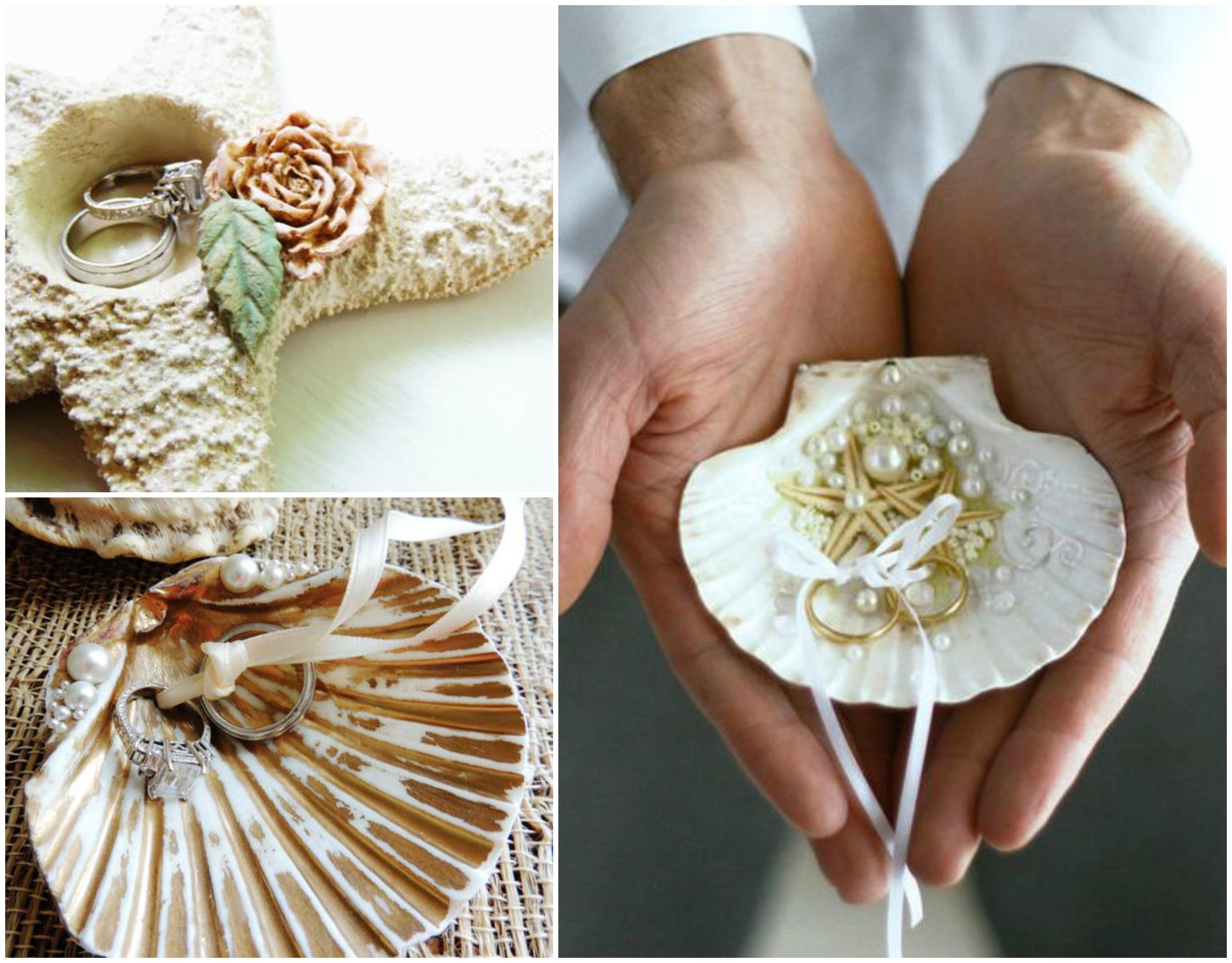 Conchas e estrelas do mar como porta alianças