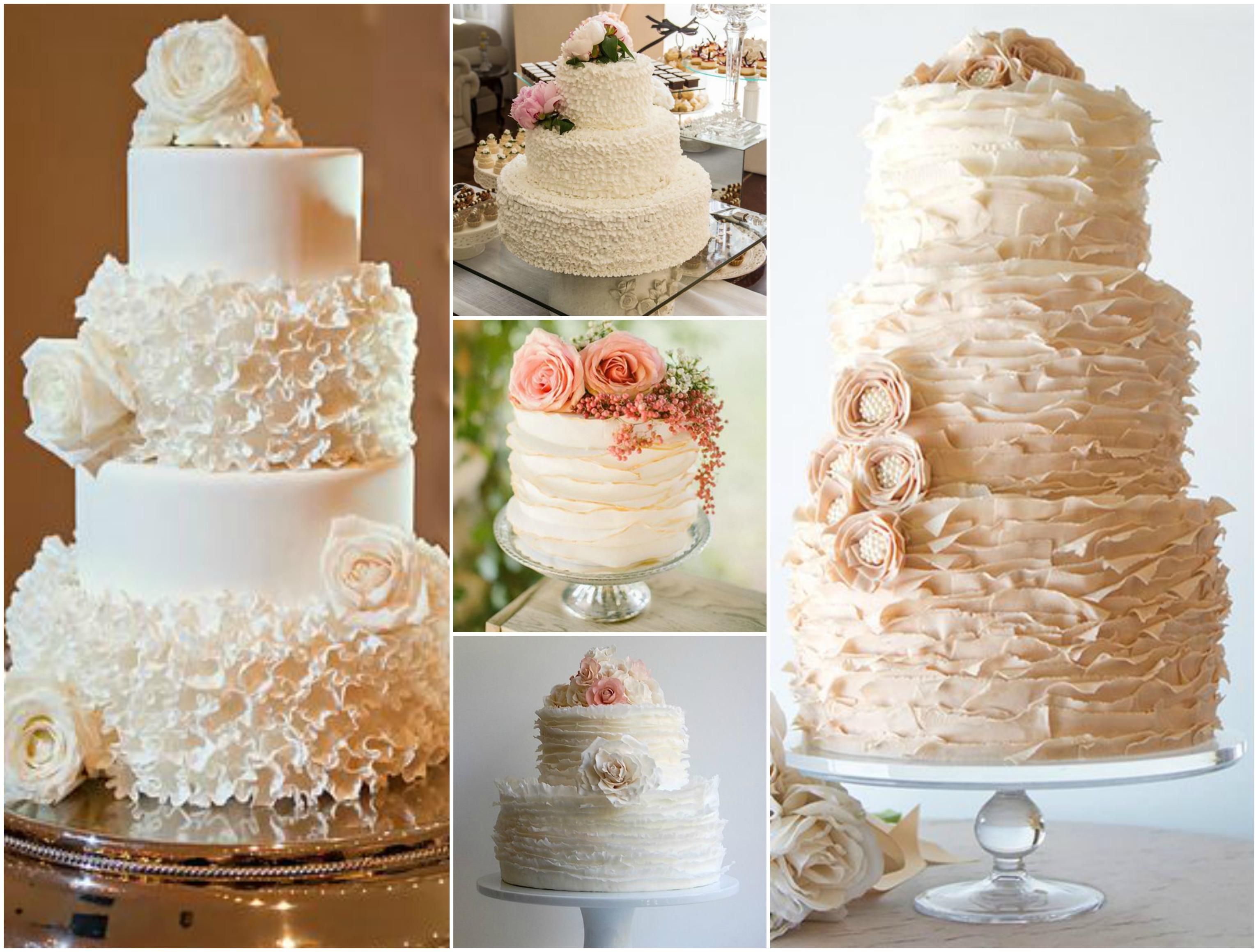 Opções de bolo de casamento com babados