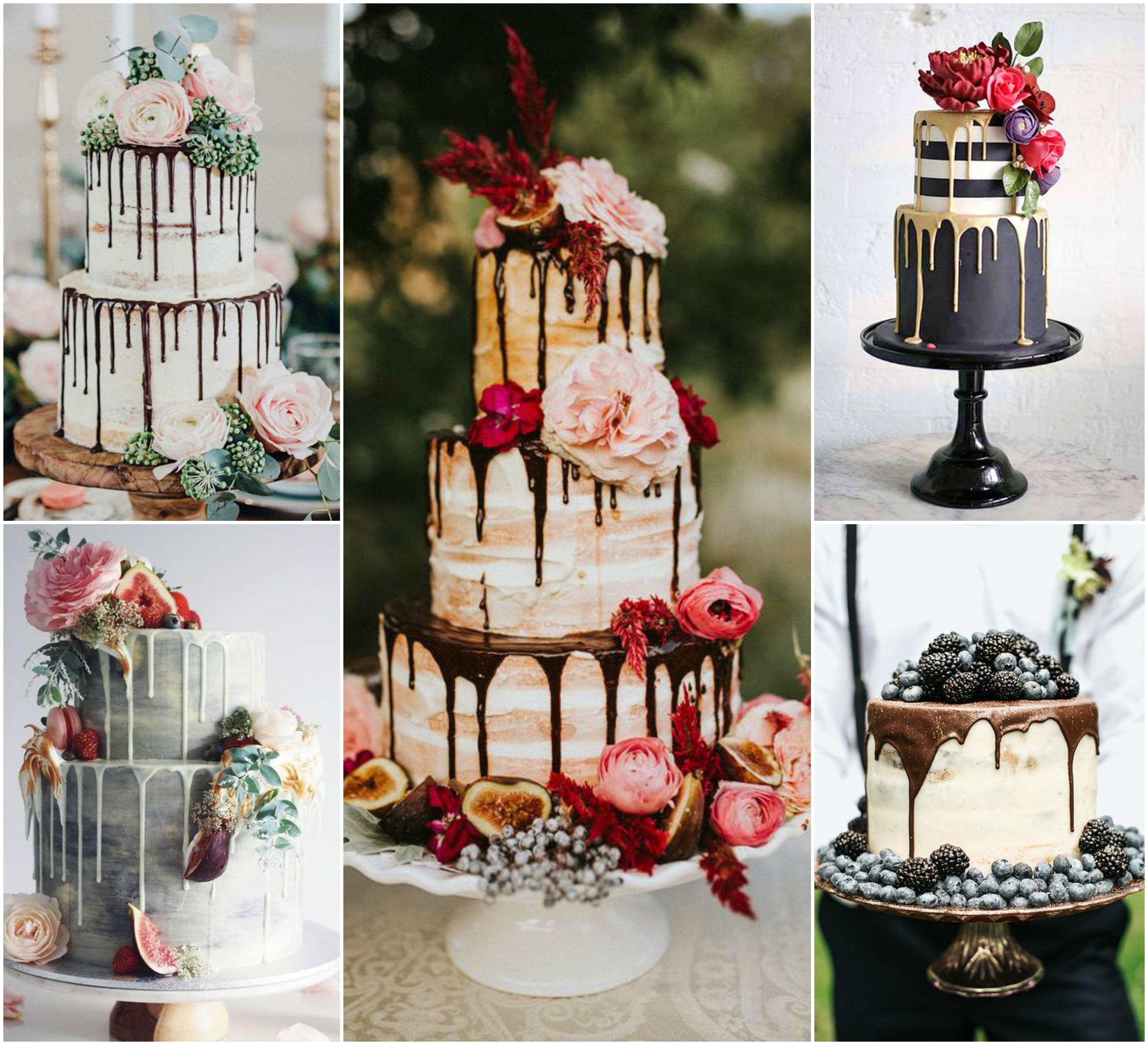 Dripping cake como opção de bolo de casamento