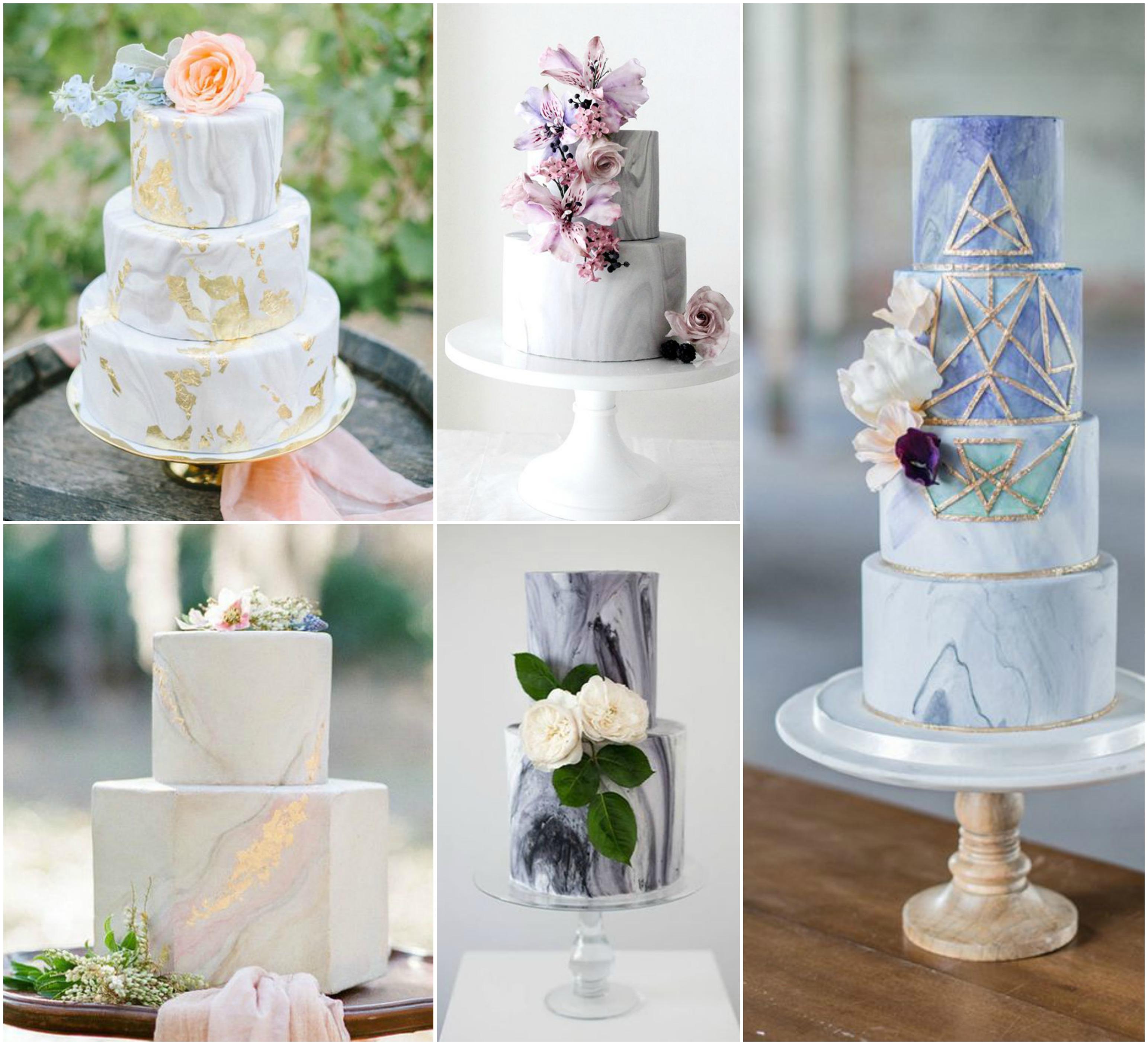 Efeito mármore em bolos de casamento