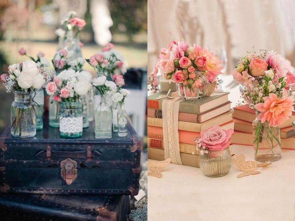 Flores para a decoração de casamento vintage