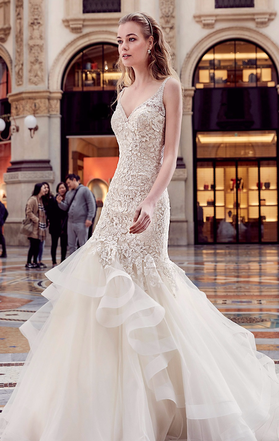 Vestido de noiva sereia com babados