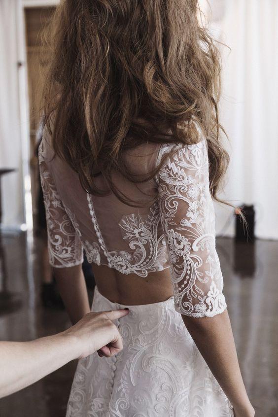Vestido de noiva crop top de costas