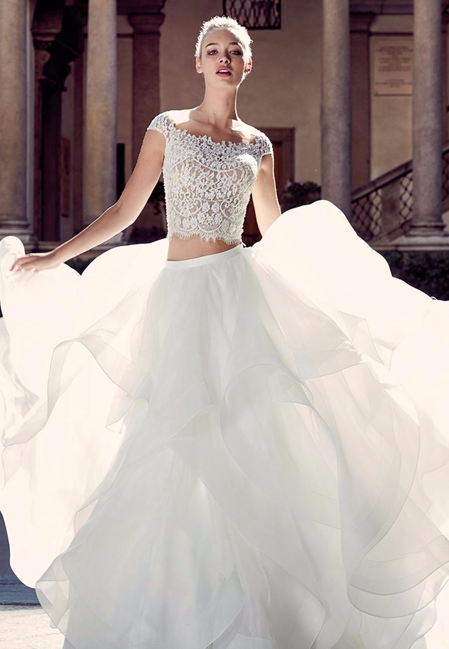 Vestido de noiva crop top princesa