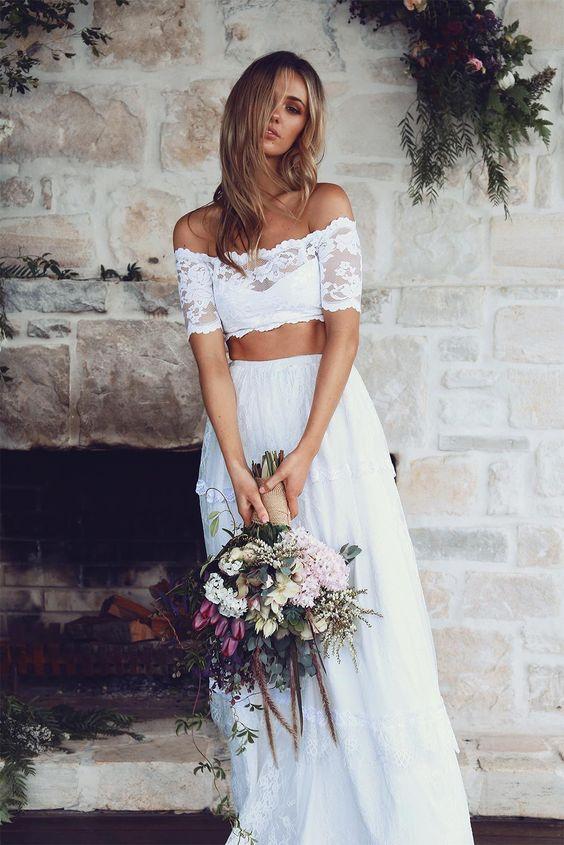 Vestido de noiva crop top boho