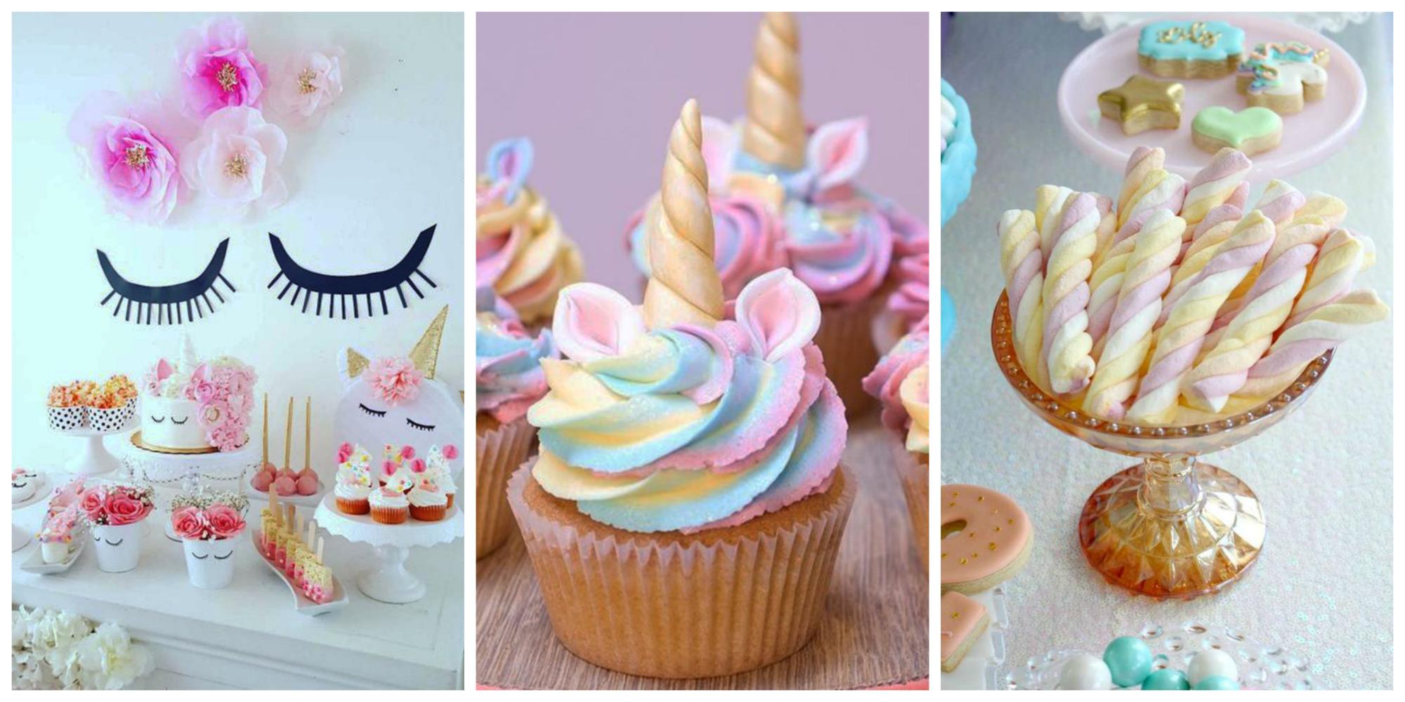 Doces e cupcakes para festa de unicórnio
