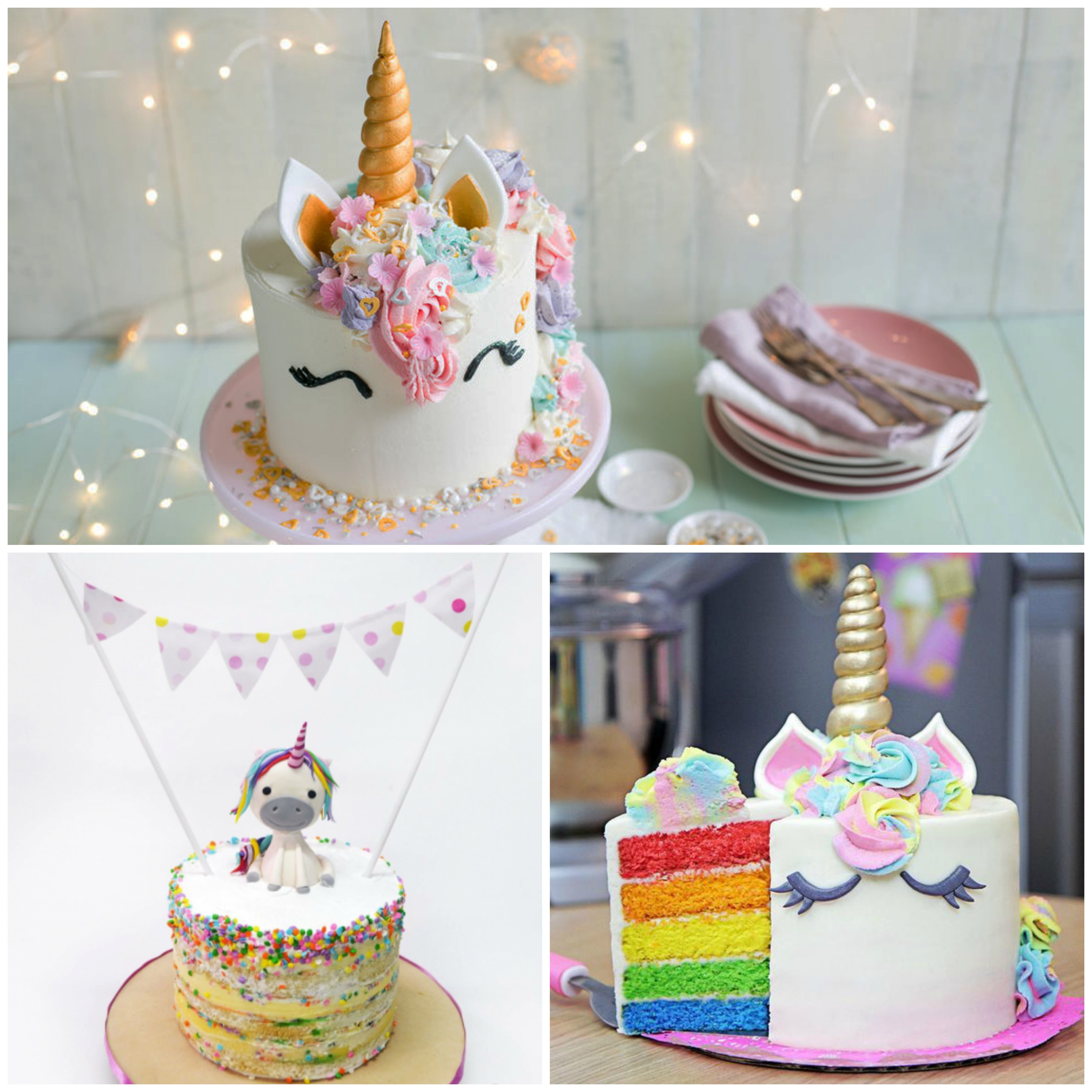 Opções de bolos de unicórnio