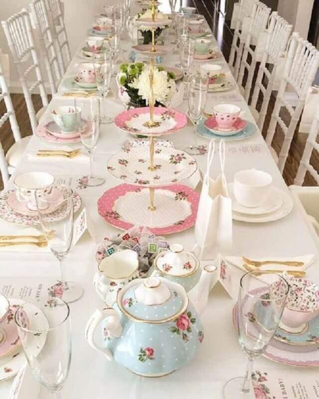 Ideias de chá de bebê: chá da tarde
