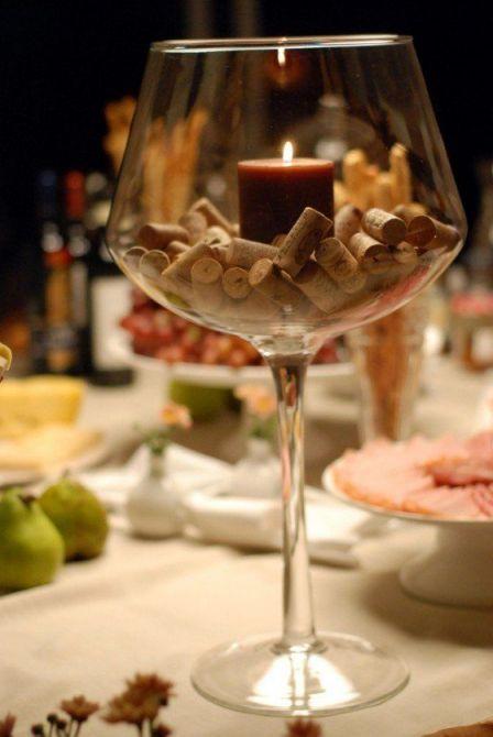 Taça com vela - Decoração de queijos e Vinhos