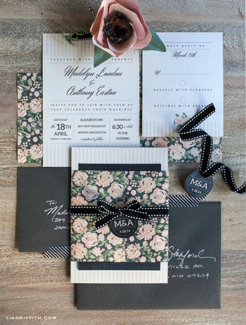 convite estampa com flores