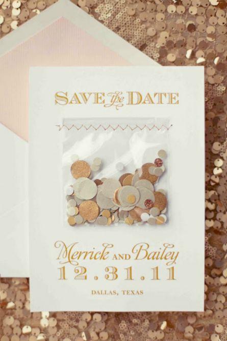 Convite de casamento com confetes para a festa