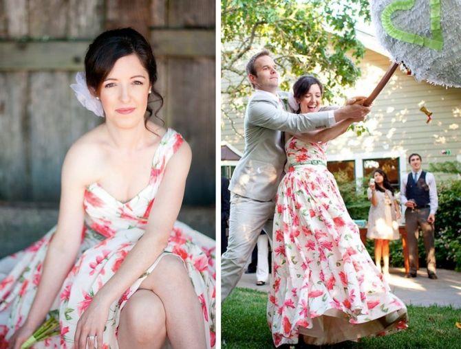Vestido de Noiva com Estampa de Flor