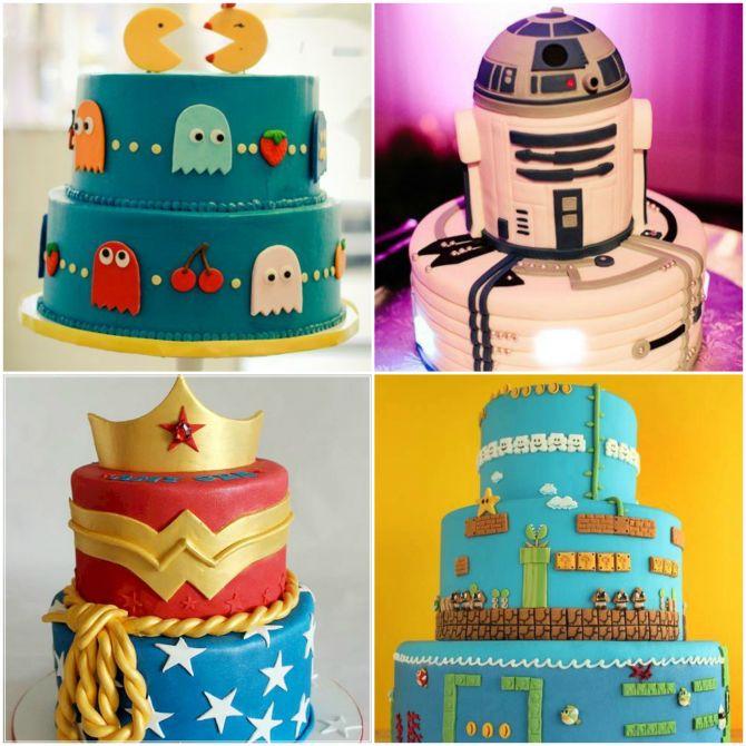 Opções de bolos geek e nerd