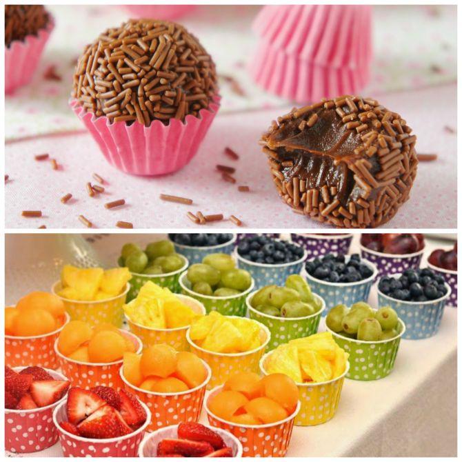 Docinhos e frutas para festa na escola