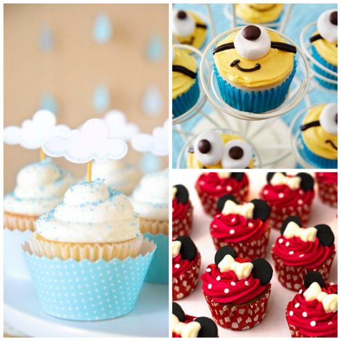 Opções de cupcake para festa na escola