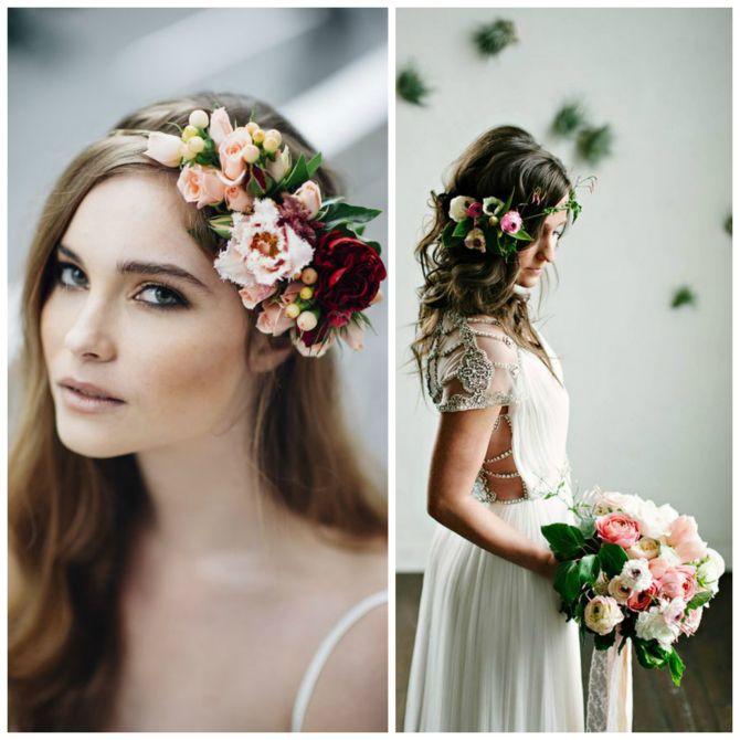 Tiara para noivas de flores lateral