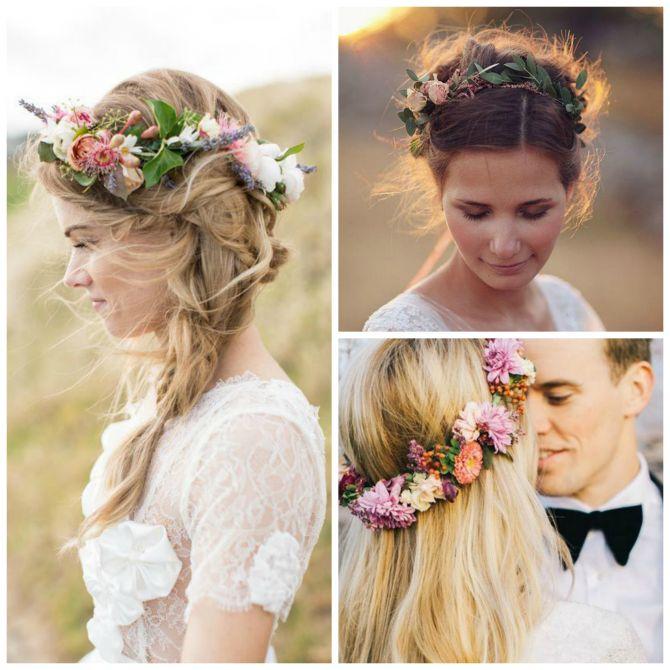 Tiara para noivas de flores silvestres