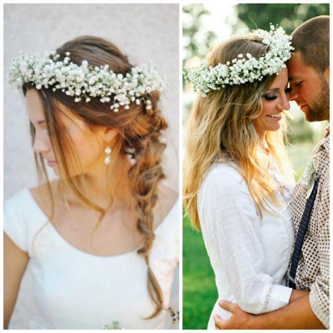 Tiara para noivas de flores gipsofila