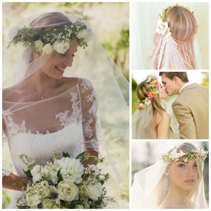 Tiara para noivas de flores com véu