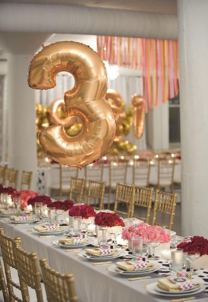 Identificar a mesa dos convidados com balões metálicos