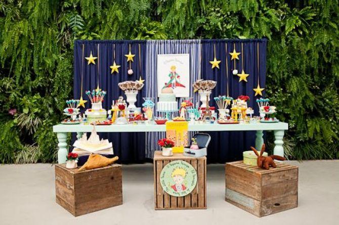festa infantil com decoração do pequeno principe