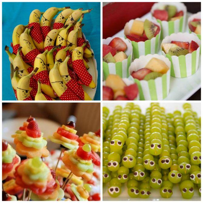 frutas divertidas são opções bacanas para substituir o excesso de guloseima na festa infantil