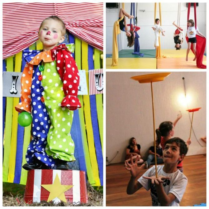 As crianças podem participar de um espetáculo de circo na festa de aniversário