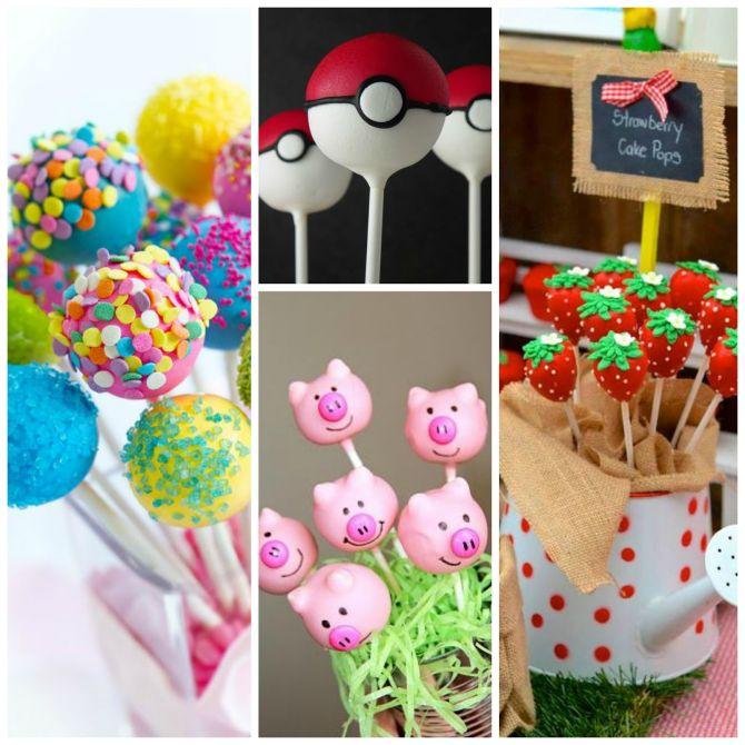 Cake pops com temas infantis