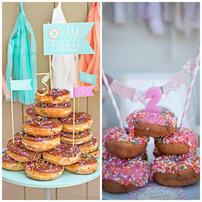 Donuts com coberturas e recheios para a festa infantil
