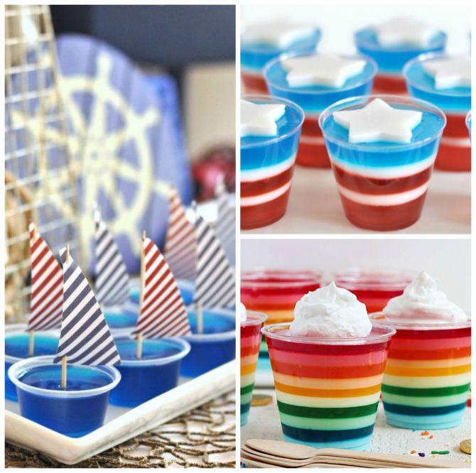 Coloridas gelatinas para a festa dos pequenos